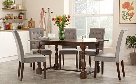 Devonshire Dark Wood Dining Table with 4 Regent Grey Velvet Chairs
