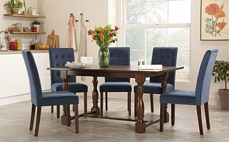 Devonshire Dark Wood Dining Table with 4 Regent Blue Velvet Chairs