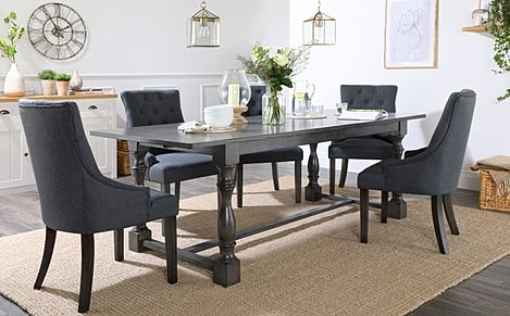 Devonshire Grey Wood Extending Dining Table with 8 Duke Slate Fabric Chairs