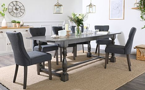 Devonshire Grey Wood Extending Dining Table with 4 Bewley Slate Fabric Chairs
