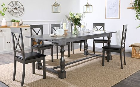 Devonshire Grey Wood Extending Dining Table with 6 Kendal Chairs (Black Leather Seat Pad)