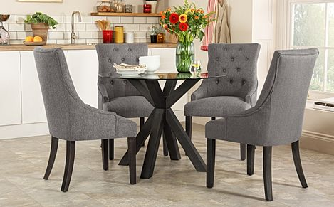 Hatton Round Grey Wood and Glass Dining Table with 4 Duke Slate Fabric Chairs