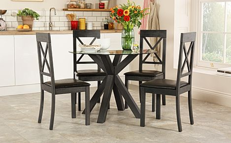 Hatton Round Grey Wood and Glass Dining Table with 4 Kendal Chairs (Black Leather Seat Pad)