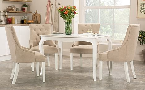 Clarendon White Dining Table with 4 Duke Oatmeal Fabric Chairs