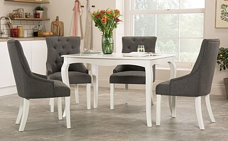 Clarendon White Dining Table with 4 Duke Slate Fabric Chairs