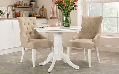 Kingston Round White Dining Table with 2 Duke Oatmeal Fabric Chairs