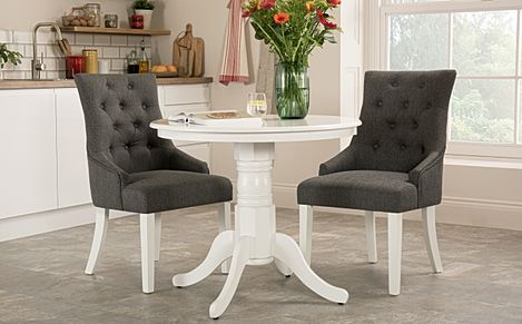 Kingston Round White Dining Table with 2 Duke Slate Fabric Chairs