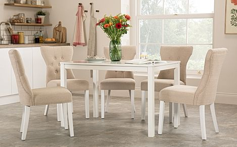 Milton White Dining Table with 4 Bewley Oatmeal Fabric Chairs