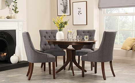 Hudson Round Dark Wood Extending Dining Table with 4 Duke Slate Fabric Chairs