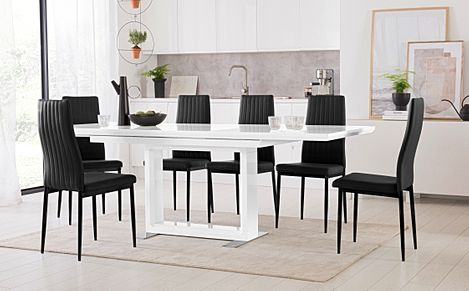 Tokyo White High Gloss Extending Dining Table with 6 Leon Black Leather Chairs (Black Leg)