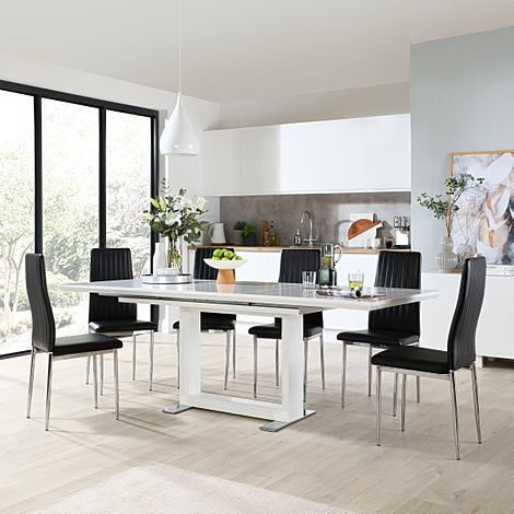 Tokyo White High Gloss Extending Dining Table with 6 Leon Black Leather Chairs (Chrome Leg)