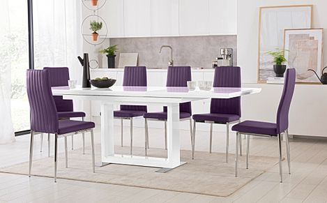 Tokyo White High Gloss Extending Dining Table with 6 Leon Purple Leather Chairs (Chrome Leg)