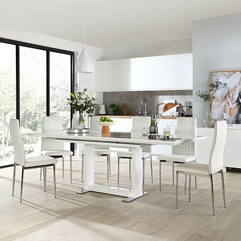 Tokyo White High Gloss Extending Dining Table with 4 Leon White Leather Chairs (Chrome Leg)
