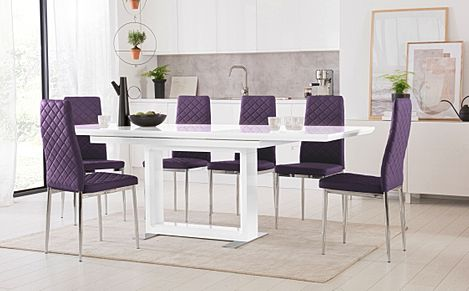 Tokyo White High Gloss Extending Dining Table with 6 Renzo Purple Leather Chairs (Chrome Leg)