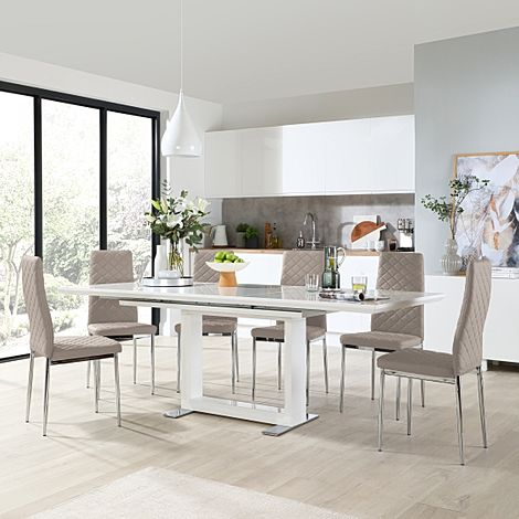 Tokyo White High Gloss Extending Dining Table with 8 Renzo Taupe Leather Chairs (Chrome Leg)
