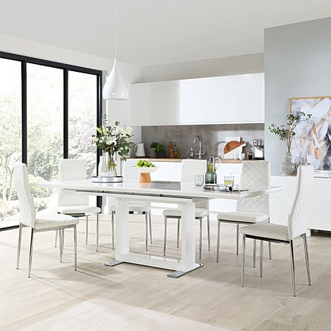 Tokyo White High Gloss Extending Dining Table with 6 Renzo White Leather Chairs (Chrome Leg)