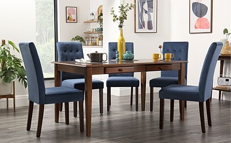 Wiltshire Dark Wood Dining Table with Storage with 4 Regent Blue Velvet Chairs