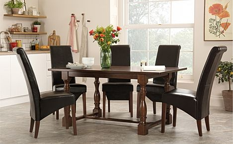Devonshire Dark Wood Dining Table with 6 Boston Brown Chairs