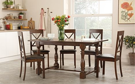 Devonshire Dark Wood Dining Table with 6 Kendal Chairs (Brown Seat Pad)