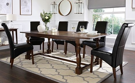 Devonshire Dark Wood Extending Dining Table with 8 Boston Brown Leather Chairs