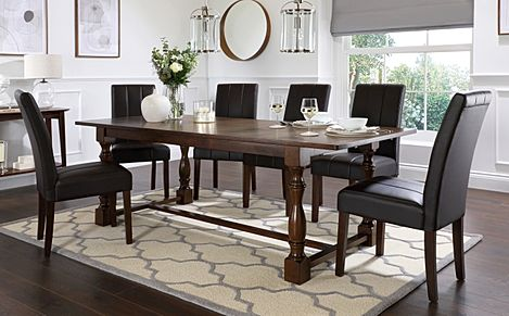 Devonshire Dark Wood Extending Dining Table with 6 Carrick Brown Leather Chairs