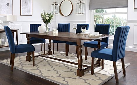Devonshire Dark Wood Extending Dining Table with 4 Salisbury Blue Velvet Chairs
