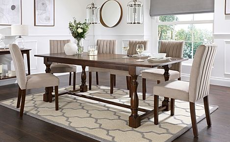 Devonshire Dark Wood Extending Dining Table with 8 Salisbury Mink Velvet Chairs