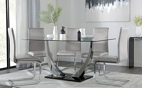 Peake Glass and Chrome Dining Table (Black Gloss Base) with 6 Perth Light Grey Leather Chairs