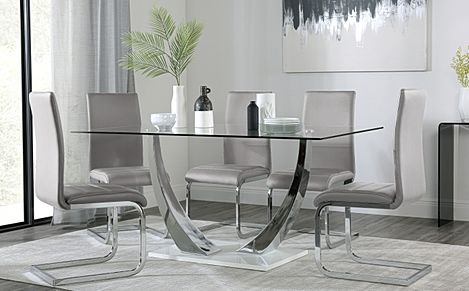 Peake Glass and Chrome Dining Table (White Gloss Base) with 6 Perth Light Grey Leather Chairs