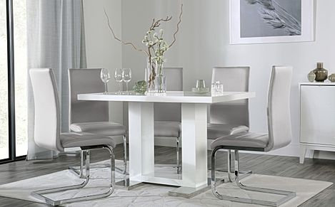 Joule White High Gloss Dining Table with 6 Perth Light Grey Leather Chairs
