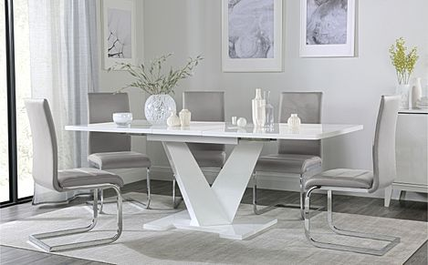 Turin White High Gloss Extending Dining Table with 6 Perth Light Grey Leather Chairs