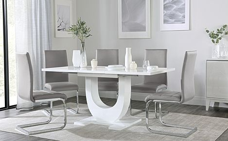 Oslo White High Gloss Extending Dining Table with 4 Perth Light Grey Leather Chairs