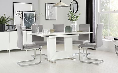 Florence White High Gloss Extending Dining Table with 4 Perth Light Grey Leather Chairs