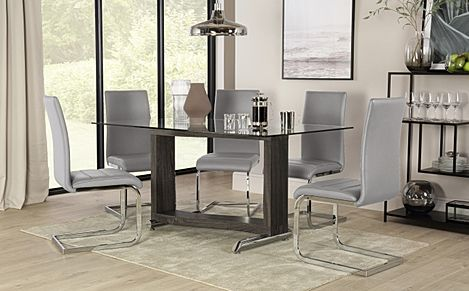 Mayfair Black Ash and Glass Dining Table with 6 Perth Light Grey Leather Chairs