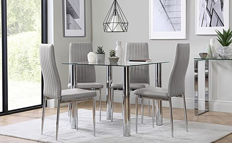 Nova Square Chrome and Glass Dining Table with 4 Leon Light Grey Chairs