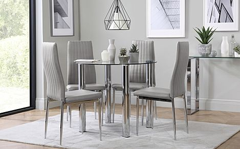 Solar Round Chrome and Glass Dining Table with 4 Leon Light Grey Chairs