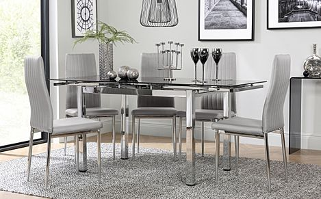 Space Chrome and Black Glass Extending Dining Table with 4 Leon Light Grey Leather Chairs