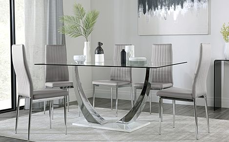 Peake Glass and Chrome Dining Table (White Gloss Base) with 4 Leon Light Grey Leather Chairs