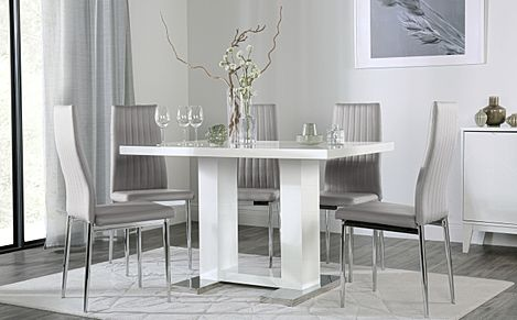 Joule White High Gloss Dining Table with 6 Leon Light Grey Leather Chairs