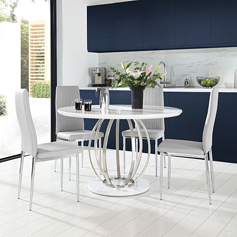 Savoy Round White High Gloss and Chrome Dining Table with 4 Leon Light Grey Leather Chairs
