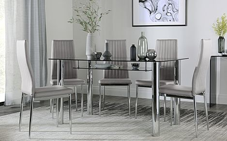 Lunar Chrome and Glass Dining Table with Storage with 4 Leon Light Grey Chairs