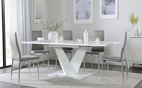 Turin White High Gloss Extending Dining Table with 6 Leon Light Grey Leather Chairs