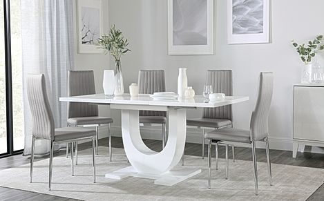 Oslo White High Gloss Extending Dining Table with 4 Leon Light Grey Leather Chairs