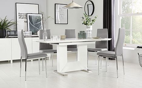Florence White High Gloss Extending Dining Table with 4 Leon Light Grey Leather Chairs