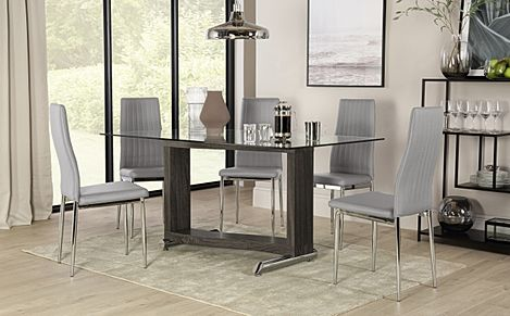 Mayfair Black Ash and Glass Dining Table with 6 Leon Light Grey Leather Chairs