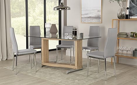 Mayfair Light Oak and Glass Dining Table with 4 Leon Light Grey Leather Chairs