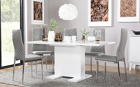 Osaka White High Gloss Extending Dining Table with 6 Renzo Light Grey Leather Chairs