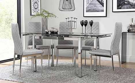 Space Chrome and Black Glass Extending Dining Table with 4 Renzo Light Grey Leather Chairs