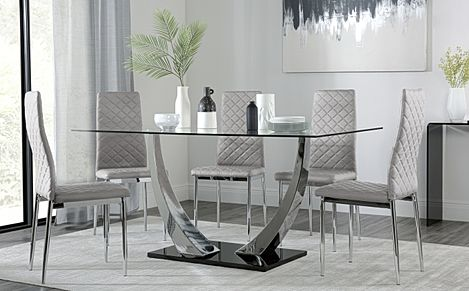 Peake Glass and Chrome Dining Table (Black Gloss Base) with 6 Renzo Light Grey Chairs