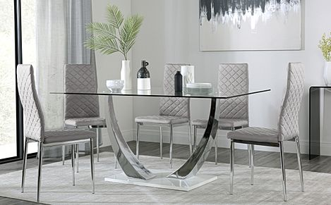 Peake Glass and Chrome Dining Table (White Gloss Base) with 4 Renzo Light Grey Leather Chairs